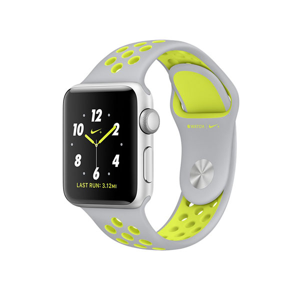 Watch Series 2 Nike+ 38mm Silver Aluminum Case with Flat Silver/Volt Nike Sport Band