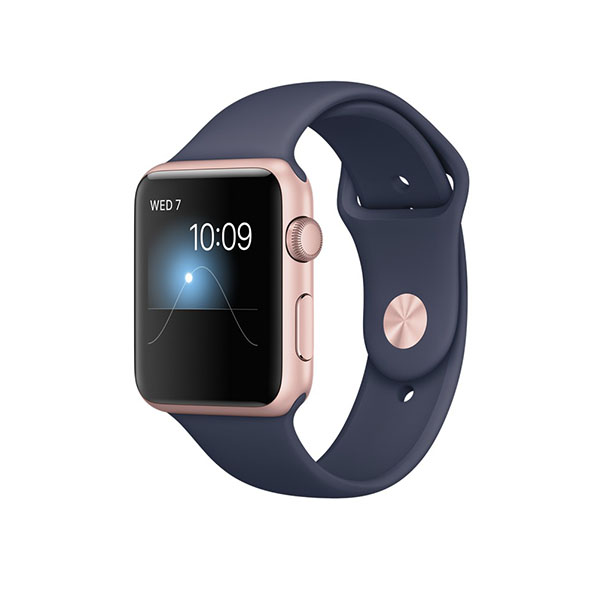 Watch Series 2 42mm Rose Gold Aluminum Case with Midnight Blue Sport Band
