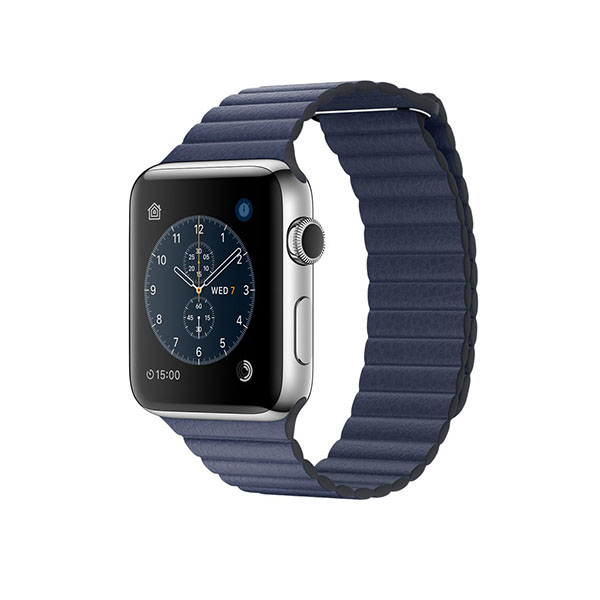 Watch Series 2 42mm Stainless Steel Case with Midnight Blue Leather Loop