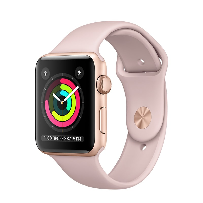 Apple Watch Series 3 42mm Gold Aluminum Case with Pink Sand Sport Band