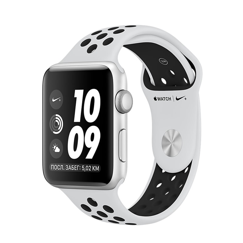 Apple Watch Series 3 42mm Silver Aluminum Case with Nike Pure Platinum/Black Sport Band