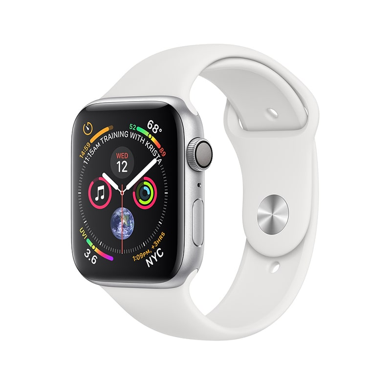 Apple Watch Series 4 40mm Aluminum Case with Sport Band (Серебристый/Белый) (MU642)