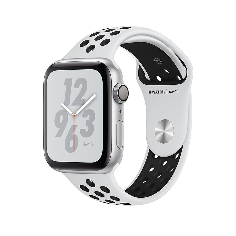 Apple Watch Series 4 40mm Aluminum Case with Nike Sport Band (Чистая платина/Черный) (MU6H2)